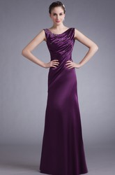 Satin Sleeveless Sheath Floor-Length Formal Gown with Ruching and Beading