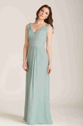 V-Neck Long Ruched Chiffon Bridesmaid Dress With Beading And V Back
