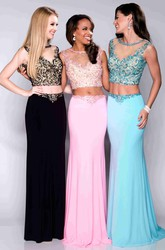 Two-Piece Sleeveless Sheath Jersey Prom Dress With Jeweled Bodice