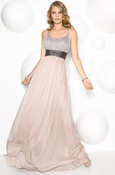 A-Line Maxi Strapped Ruched Sleeveless Prom Dress With Pleats And Beading