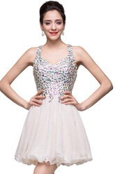 Lovely Crystal Sleeveless Homecoming Dress 2018 Short