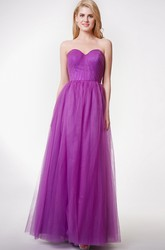 Sleeveless Pleated A-line Tulle Gown With Convertible Straps