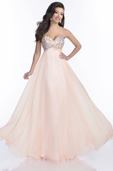 Sweetheart Chiffon A-Line Sleeveless Prom Dress Featuring Glimmering Rhinestones Bust