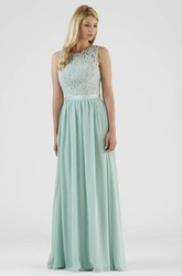 Floor-Length Lace Sleeveless Scoop Neck Chiffon Bridesmaid Dress