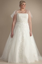 Ball Gown Maxi Spaghetti Poet-Sleeve Appliqued Tulle Plus Size Wedding Dress With Beading