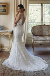 Plunging V-neck Sexy Mermaid Sleeveless Lace Bridal Gown With Deep V-back And Court Train
