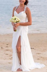 Sheath V-neck Chiffon Open Back Straps Wedding Gown