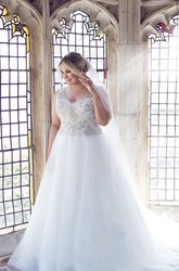 Ball Gown Long V-Neck Sleeveless Tulle Plus Size Wedding Dress With Beading