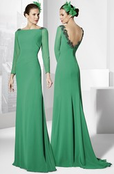 Long Appliqued Long-Sleeve Jewel-Neck Jersey Prom Dress