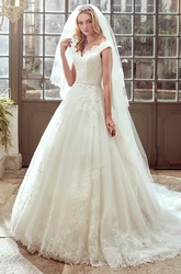 Strap-Neck A-Line Wedding Dress with V Neckline and Brush Train