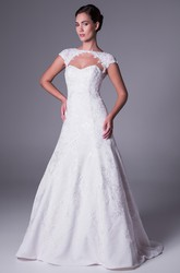 A-Line High Neck Cap-Sleeve Lace Wedding Dress With Illusion