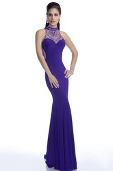 Sleeveless High Neck Jersey Gown With Shining Crystal Appliques