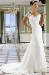 Sheath Long V-Neck Short-Sleeve Lace Wedding Dress With Illusion