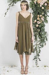 Tea-Length Sleeveless Empire Pleated V-Neck Chiffon Bridesmaid Dress With Sash