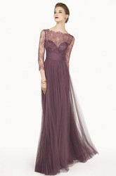 Sheath Lace Bateau-Neck Maxi 3-4-Sleeve Tulle Prom Dress With Pleats