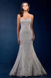 Sweetheart Mermaid Gown With Beadings And Floral Embellishments