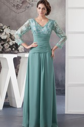 Empire V-Neck Lace Top 3 4 Sleeve Chiffon Mother of the Bride Dress