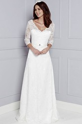 V-Neck Appliqued 3-4-Sleeve Long Lace Wedding Dress
