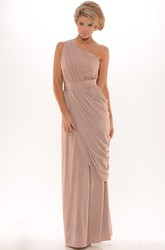 Pencil Floor-Length Ruched Sleeveless One-Shoulder Chiffon Prom Dress