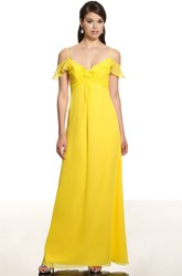 Empire Sleeveless Spaghetti Ruched Chiffon Bridesmaid Dress With Low-V Back