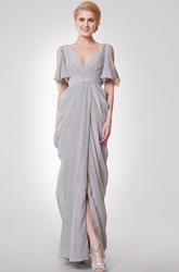 V Neck Long Chiffon Bridesmaid Dress with Split Sleeves and Ruffles