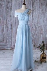One Shoulder Off Shoulder Empire A-line Chiffon Long Dress