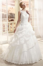 A-Line Bateau-Neck Floor-Length Sleeveless Pick-Up Lace&Organza Wedding Dress With Appliques