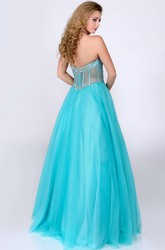 Sweetheart Tulle A-Line Gown With Glimmering Rhinestones Bust