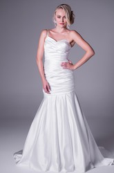 Trumpet Sweetheart Maxi Satin Wedding Dress With Criss Cross And Straps
