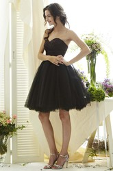 A-Line Short Sweetheart Criss-Cross Sleeveless Tulle Bridesmaid Dress