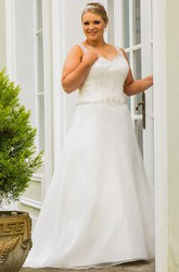 Lace Top Crystal Sash A-Line Bridal Gown With Lace Up And Keyhole