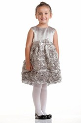Knee-Length Tiered Bowed Satin Flower Girl Dress