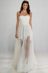 A-Line Sweetheart Sleeveless Maxi Appliqued Tulle Wedding Dress With Zipper Back And Beading