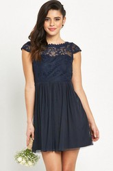 Mini Cap Sleeve Bateau Neck Appliqued Tulle Bridesmaid Dress With Low-V Back
