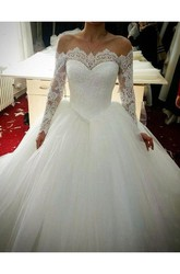 Ball Gown Off-the-shoulder Lace Tulle Zipper Wedding Dress