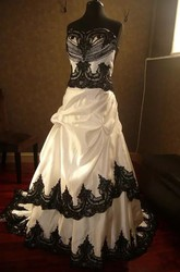 Sleeveless A-Line Straps Taffeta Lace Floor-length Chapel Train Wedding Dress with Ruffles and Tiers