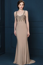 Sheath Floor-Length Beaded Sleeveless Strapped Jersey Evening Dress