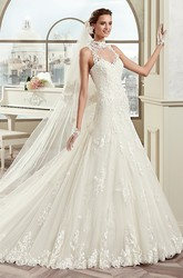 High-Neck Sheath Lace Bridal Gown With Illusive Design And Open Back