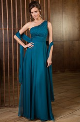 One-Shoulder A-Line Long Mother Of The Bride Dress With Shawl And Sequins