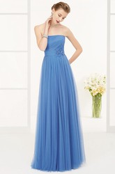 Strapless A-line Tulle Long Dress With Waist Flower And Pleats