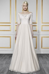 A-Line Off-The-Shoulder Half-Sleeve Tulle&Satin Wedding Dress