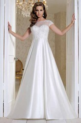 Long Bateau Appliqued Short-Sleeve Satin Wedding Dress With Court Train And Illusion