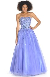A-Line Maxi Strapless Sequined Tulle Prom Dress With Lace-Up