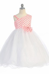 Tea-Length One-Shoulder Bowed Tulle&Sequins Flower Girl Dress With Tiers