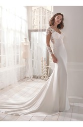 Fabulous Long Sleeve Chapel Train Bridal Gown With Ilussion Back