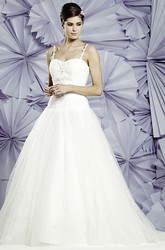 Ball Gown Floor-Length Ruched Sleeveless Spaghetti Tulle Wedding Dress With Appliques