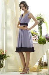 V-Neck Sleeveless Short Chiffon Bridesmaid Dress With Ruching And V Back