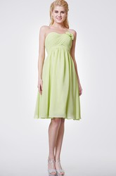 Floral Empire Knee Length Strapless Chiffon Dress With Pleated Skirt