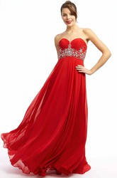 A-Line Ruched Sweetheart Sleeveless Maxi Empire Chiffon Prom Dress With Beading