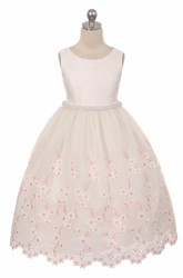 Tea-Length Floral Beaded Lace&Organza Flower Girl Dress With Sash